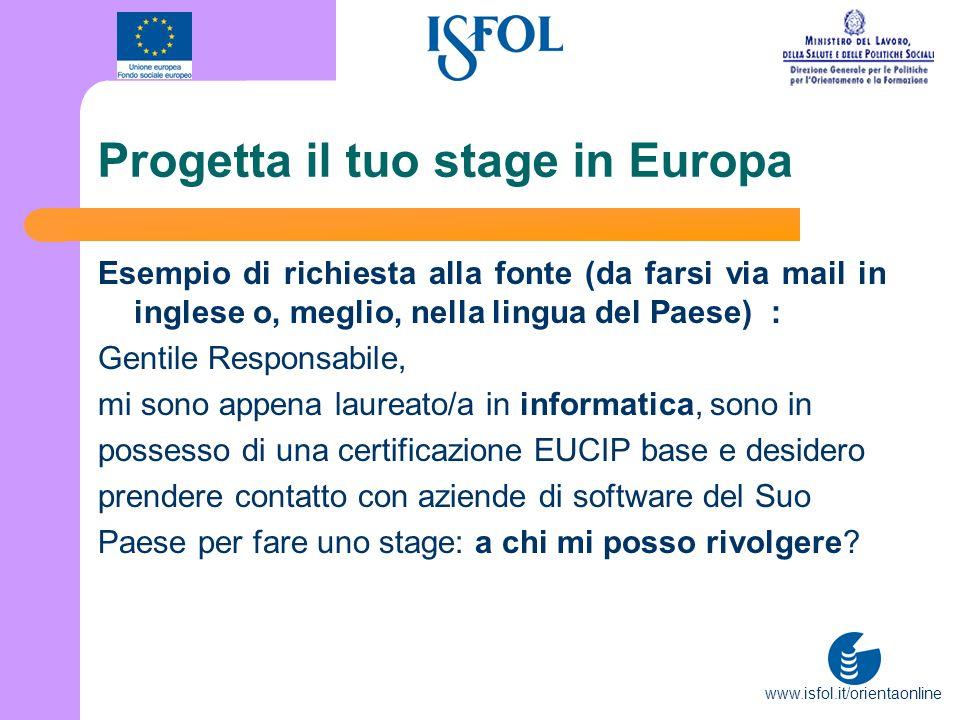 www.isfol.it/orientaonline Progetta il tuo stage in Europa Esempio di richiesta alla fonte (da farsi via mail in inglese o, meglio, nella lingua del P