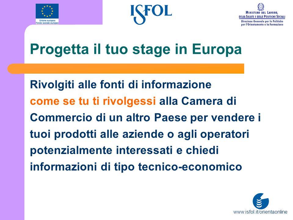 www.isfol.it/orientaonline Progetta il tuo stage in Europa Rivolgiti alle fonti di informazione come se tu ti rivolgessi alla Camera di Commercio di u