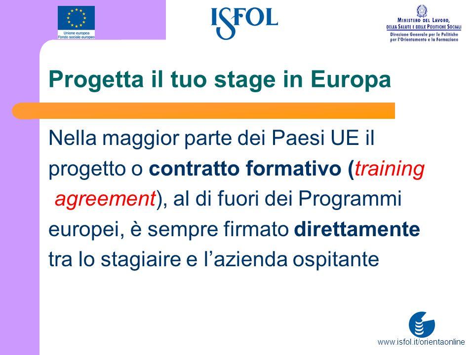 www.isfol.it/orientaonline Progetta il tuo stage in Europa Nella maggior parte dei Paesi UE il progetto o contratto formativo (training agreement), al