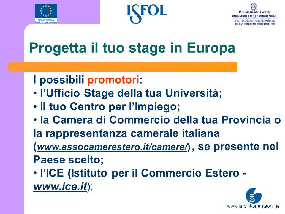 www.isfol.it/orientaonline Progetta il tuo stage in Europa I possibili promotori: lUfficio Stage della tua Università; Il tuo Centro per lImpiego; la