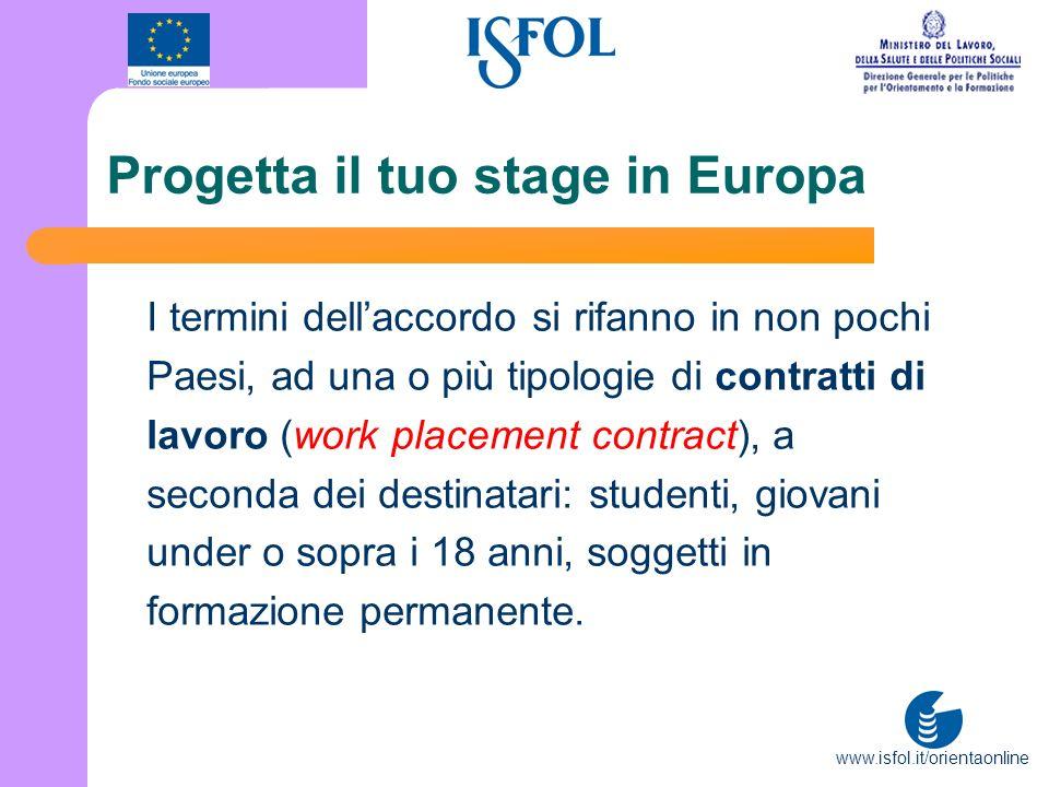 www.isfol.it/orientaonline Progetta il tuo stage in Europa I termini dellaccordo si rifanno in non pochi Paesi, ad una o più tipologie di contratti di