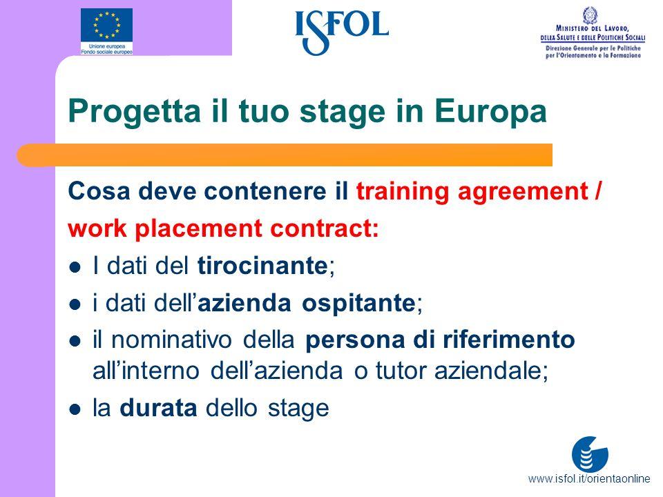 www.isfol.it/orientaonline Progetta il tuo stage in Europa Cosa deve contenere il training agreement / work placement contract: I dati del tirocinante