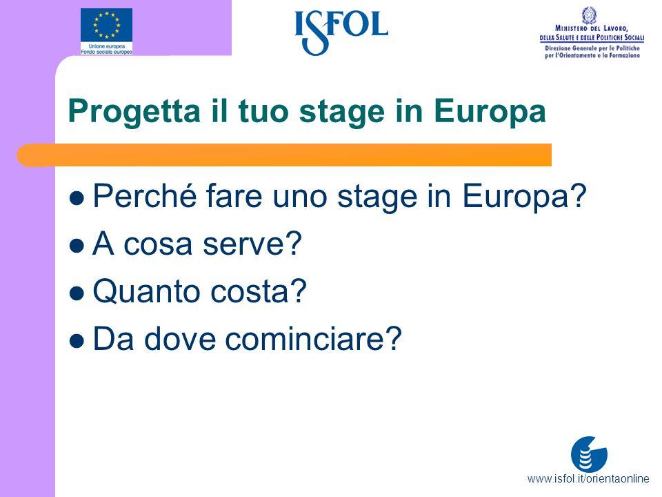 www.isfol.it/orientaonline Progetta il tuo stage in Europa Perché fare uno stage in Europa? A cosa serve? Quanto costa? Da dove cominciare?