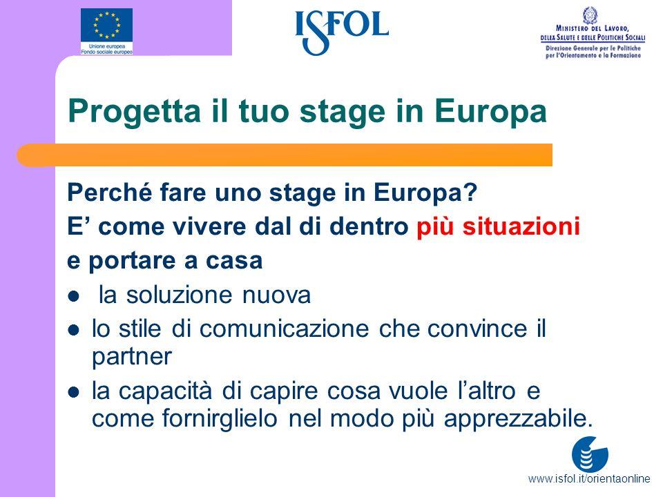 www.isfol.it/orientaonline Progetta il tuo stage in Europa Perché fare uno stage in Europa? E come vivere dal di dentro più situazioni e portare a cas