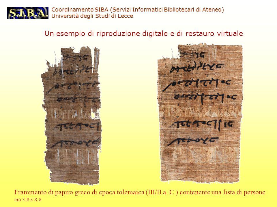 Un esempio di riproduzione digitale e di restauro virtuale Frammento di papiro greco di epoca tolemaica (III/II a.