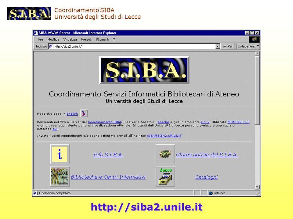 Coordinamento SIBA Università degli Studi di Lecce http://siba2.unile.it
