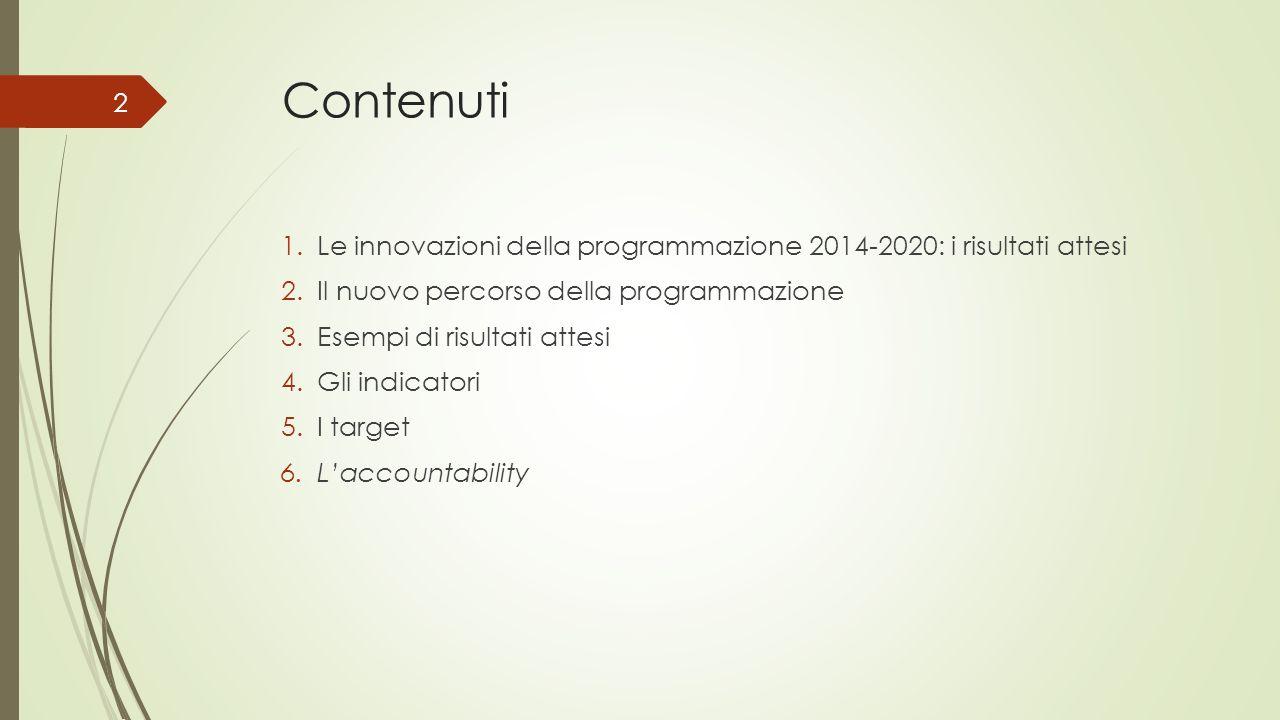 Contenuti 1.Le innovazioni della programmazione 2014-2020: i risultati attesi 2.Il nuovo percorso della programmazione 3.Esempi di risultati attesi 4.
