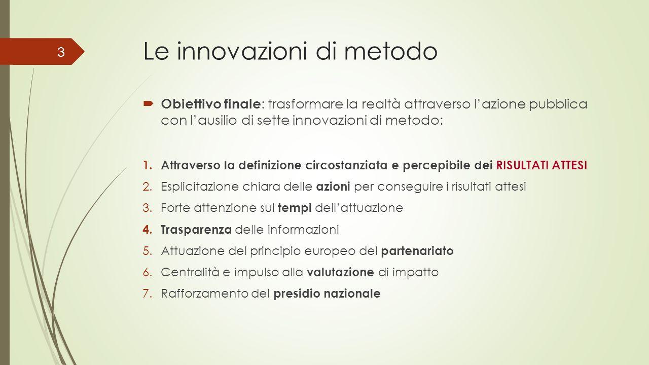 Le innovazioni di metodo Obiettivo finale : trasformare la realtà attraverso lazione pubblica con lausilio di sette innovazioni di metodo: 1.Attravers