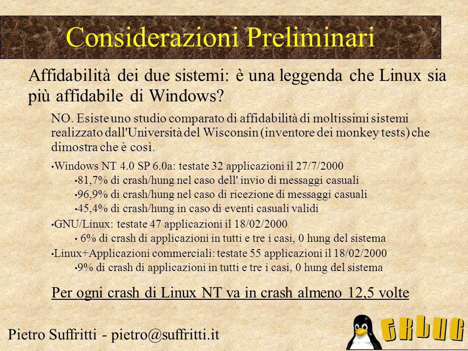 TCO Linux:riepilogo costi diretti Pietro Suffritti - pietro@suffritti.it