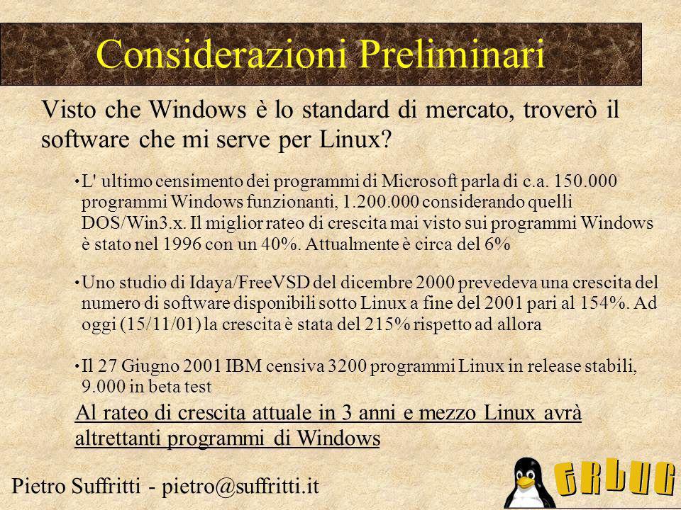 L' ultimo censimento dei programmi di Microsoft parla di c.a. 150.000 programmi Windows funzionanti, 1.200.000 considerando quelli DOS/Win3.x. Il migl
