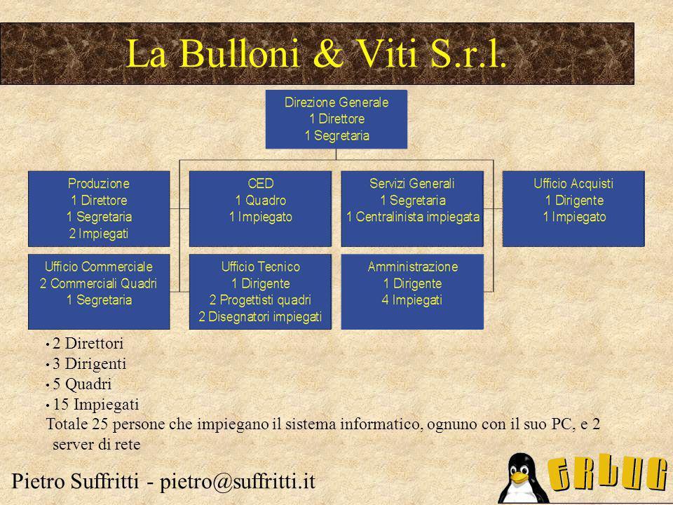 2 Direttori 3 Dirigenti 5 Quadri 15 Impiegati Totale 25 persone che impiegano il sistema informatico, ognuno con il suo PC, e 2 server di rete La Bulloni & Viti S.r.l.