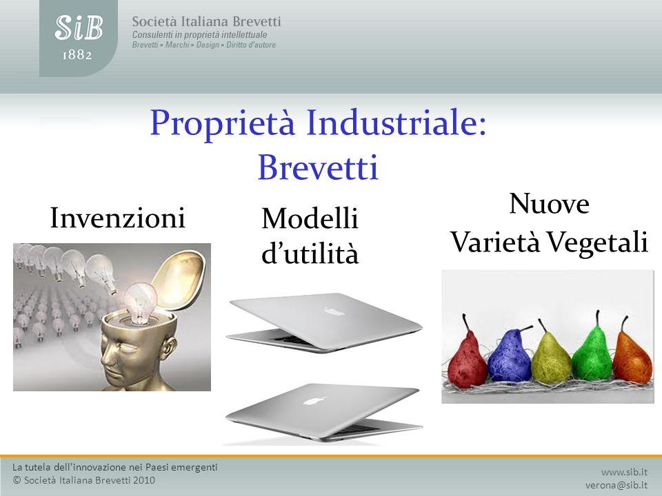 Proprietà Industriale: Brevetti Invenzioni Modelli dutilità Nuove Varietà Vegetali www.sib.it verona@sib.it La tutela dell'innovazione nei Paesi emerg