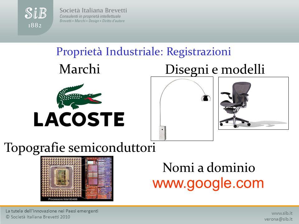 Proprietà Industriale: Registrazioni Marchi Disegni e modelli Topografie semiconduttori Nomi a dominio www.google.com www.sib.it verona@sib.it La tute