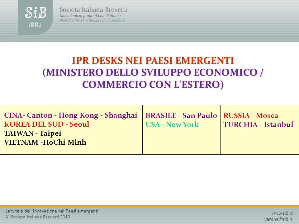 IPR DESKS NEI PAESI EMERGENTI (MINISTERO DELLO SVILUPPO ECONOMICO / COMMERCIO CON L'ESTERO) CINA- Canton - Hong Kong - Shanghai KOREA DEL SUD - Seoul