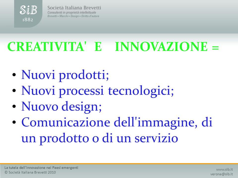 CREATIVITA' E INNOVAZIONE = Nuovi prodotti; Nuovi processi tecnologici; Nuovo design; Comunicazione dell'immagine, di un prodotto o di un servizio www