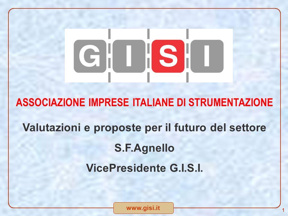 www.gisi.it ASSOCIAZIONE IMPRESE ITALIANE DI STRUMENTAZIONE Valutazioni e proposte per il futuro del settore S.F.Agnello VicePresidente G.I.S.I.