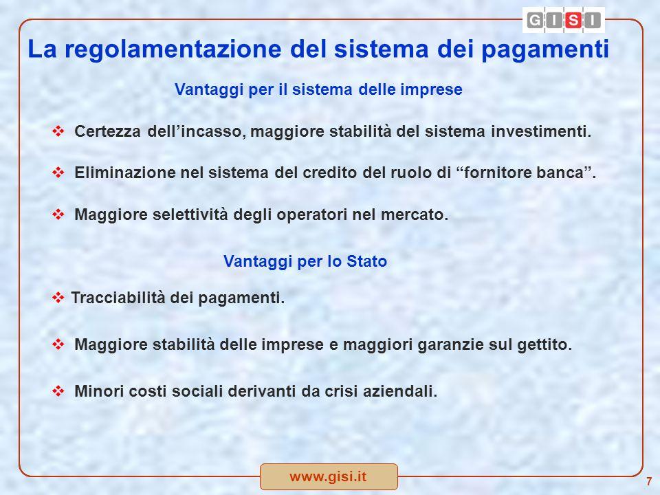 www.gisi.it La regolamentazione del sistema dei pagamenti Vantaggi per il sistema delle imprese Certezza dellincasso, maggiore stabilità del sistema investimenti.