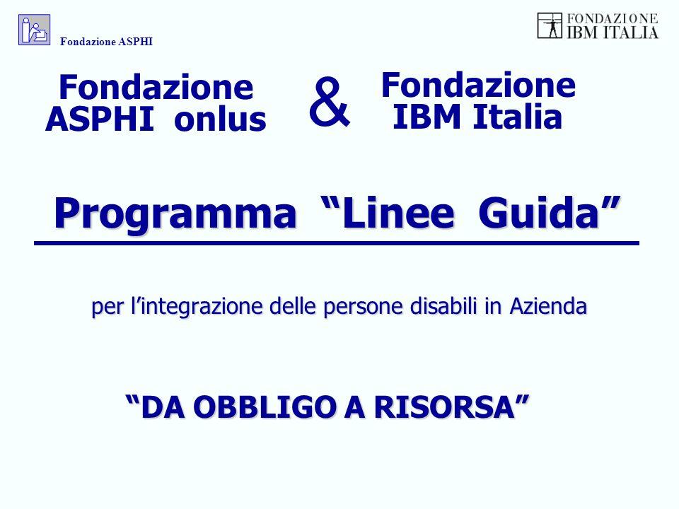 Programma Linee Guida per lintegrazione delle persone disabili in Azienda Fondazione IBM Italia Fondazione ASPHI onlus & DA OBBLIGO A RISORSA Fondazio