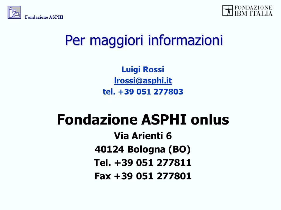 Per maggiori informazioni Luigi Rossi lrossi@asphi.it tel. +39 051 277803 Fondazione ASPHI onlus Via Arienti 6 40124 Bologna (BO) Tel. +39 051 277811