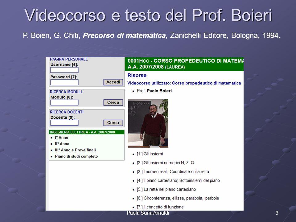 3Paola Suria Arnaldi Videocorso e testo del Prof. Boieri P. Boieri, G. Chiti, Precorso di matematica, Zanichelli Editore, Bologna, 1994.