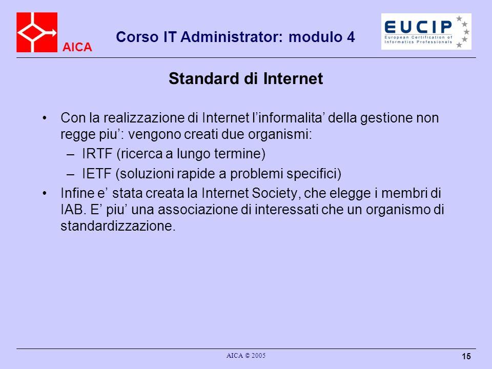 AICA Corso IT Administrator: modulo 4 AICA © 2005 15 Standard di Internet Con la realizzazione di Internet linformalita della gestione non regge piu: