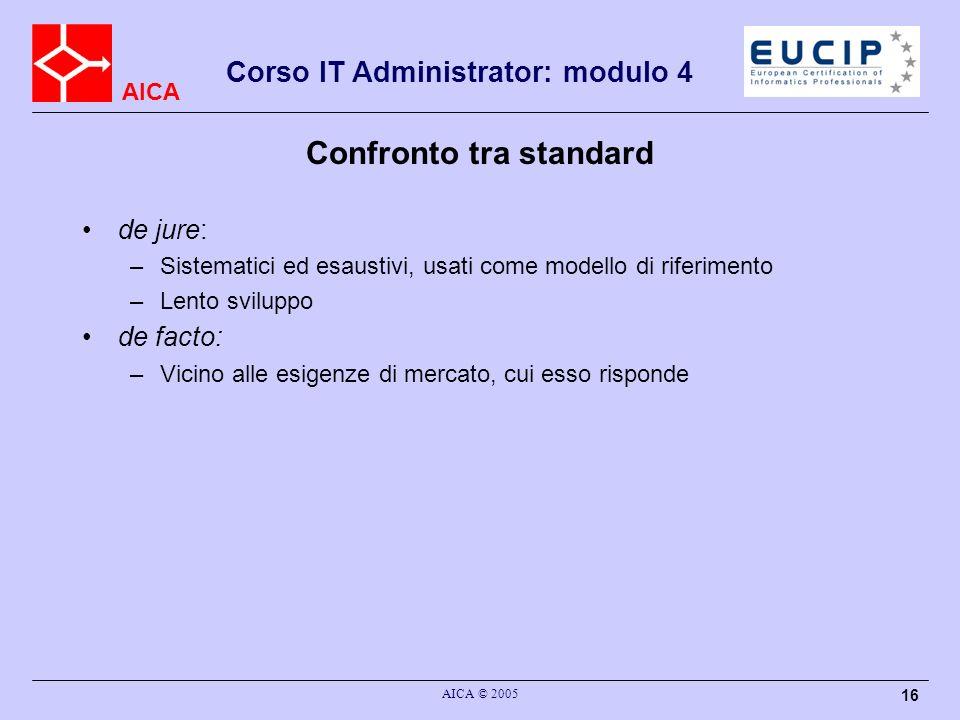 AICA Corso IT Administrator: modulo 4 AICA © 2005 16 Confronto tra standard de jure: –Sistematici ed esaustivi, usati come modello di riferimento –Len