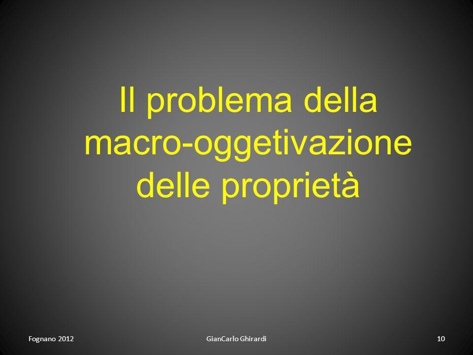 Fognano 201210GianCarlo Ghirardi Il problema della macro-oggetivazione delle proprietà