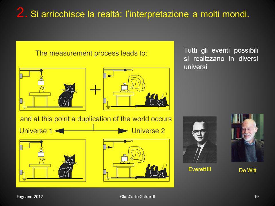 Fognano 201219GianCarlo Ghirardi 2. Si arricchisce la realtà: linterpretazione a molti mondi. Tutti gli eventi possibili si realizzano in diversi univ