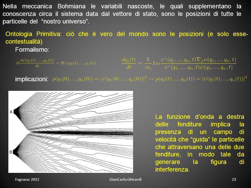 Fognano 201223GianCarlo Ghirardi Nella meccanica Bohmiana le variabili nascoste, le quali supplementano la conoscenza circa il sistema data dal vettor