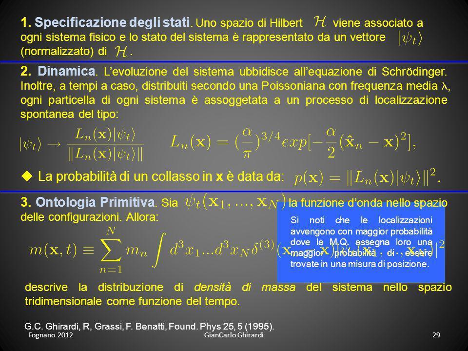 Fognano 201229GianCarlo Ghirardi 1. Specificazione degli stati. Uno spazio di Hilbert viene associato a ogni sistema fisico e lo stato del sistema è r