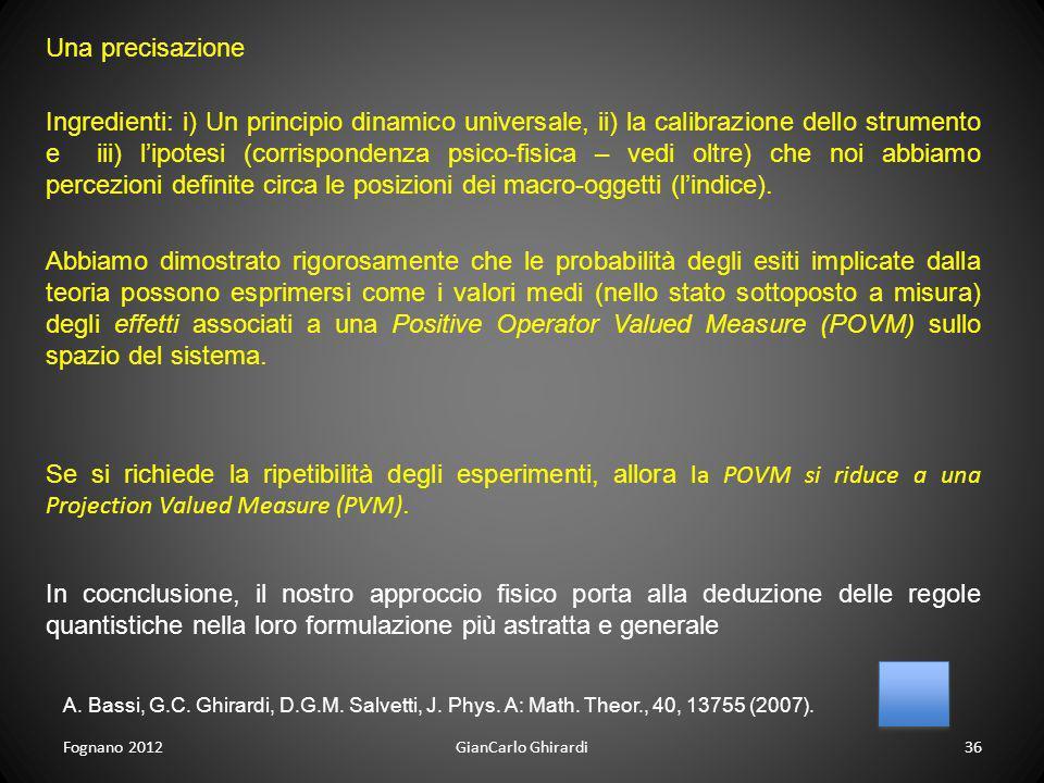 Fognano 201236GianCarlo Ghirardi Se si richiede la ripetibilità degli esperimenti, allora la POVM si riduce a una Projection Valued Measure (PVM). Abb