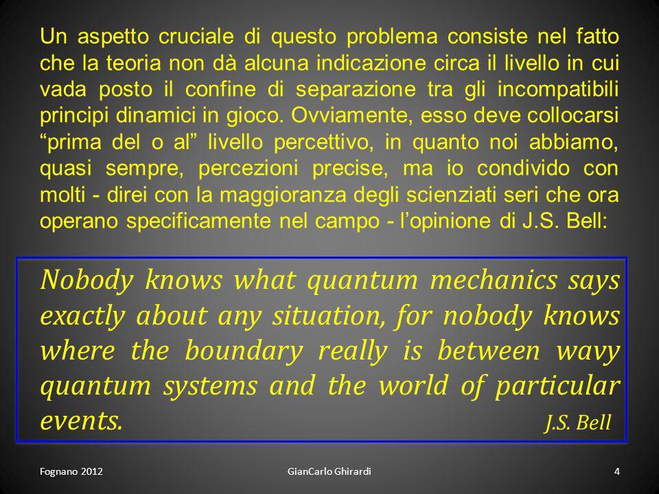 Fognano 2012GianCarlo Ghirardi4 Un aspetto cruciale di questo problema consiste nel fatto che la teoria non dà alcuna indicazione circa il livello in