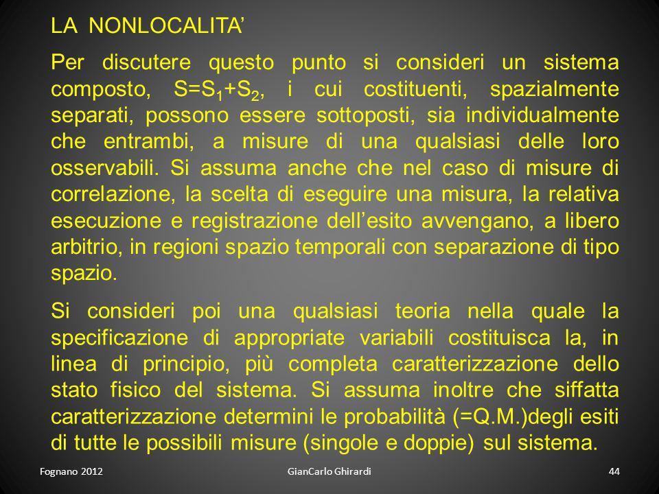 Fognano 2012GianCarlo Ghirardi44 LA NONLOCALITA Si consideri poi una qualsiasi teoria nella quale la specificazione di appropriate variabili costituis