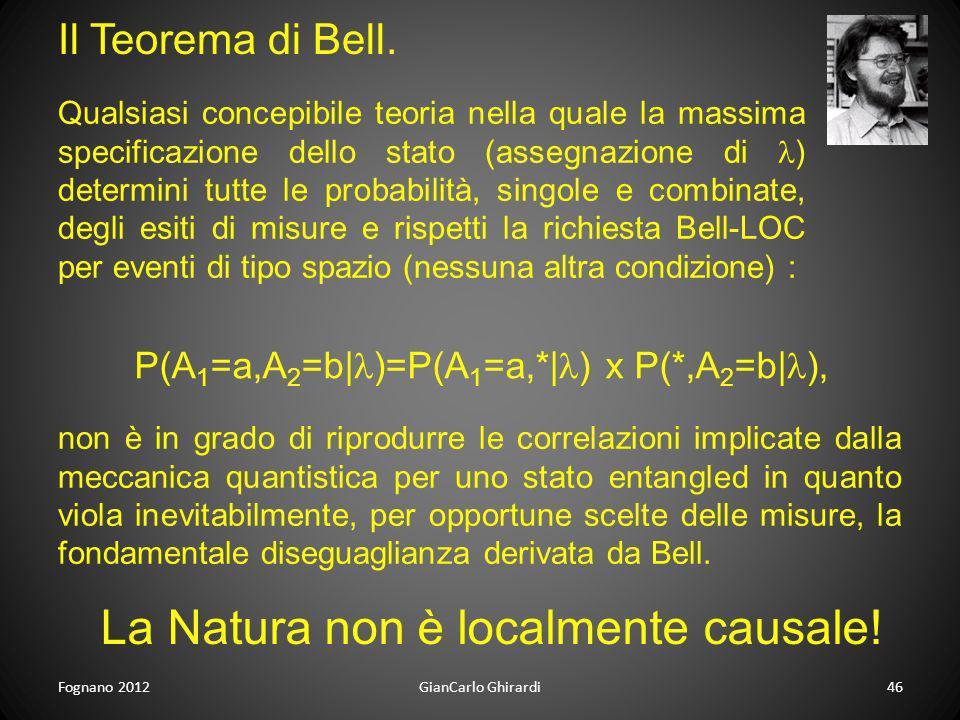 Fognano 201246GianCarlo Ghirardi Il Teorema di Bell. La Natura non è localmente causale! Qualsiasi concepibile teoria nella quale la massima specifica