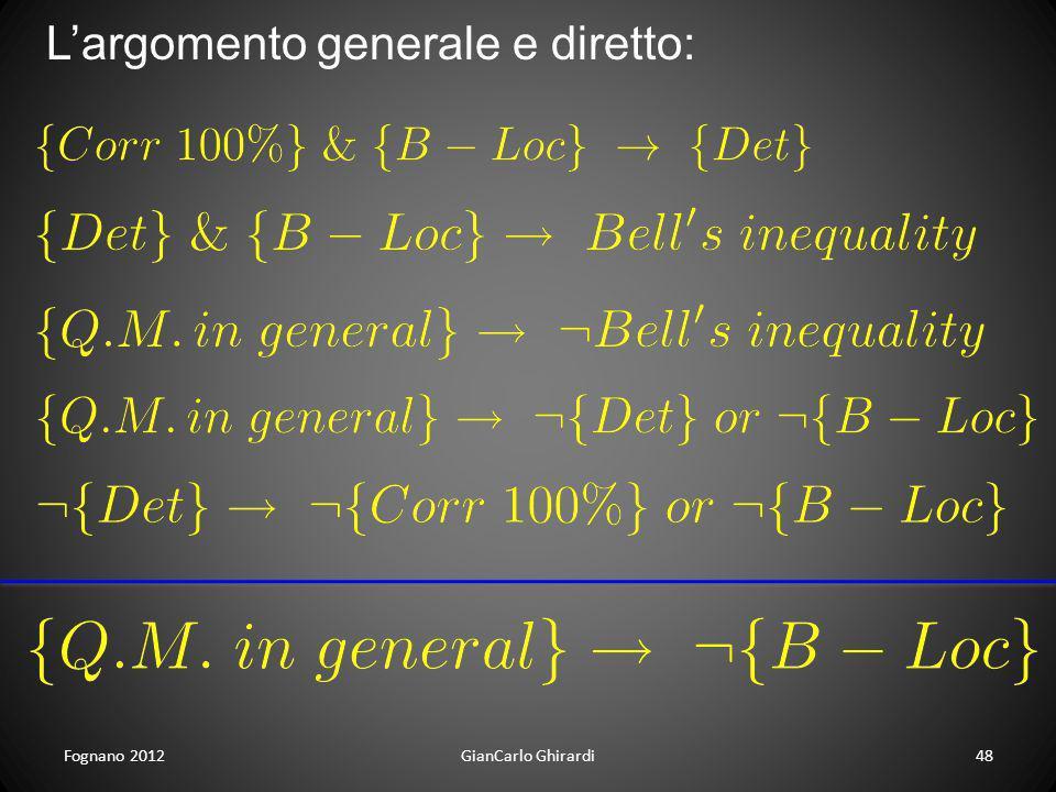 Fognano 2012GianCarlo Ghirardi48 Largomento generale e diretto: