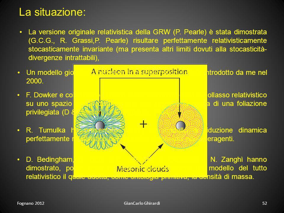 La situazione: Fognano 201252GianCarlo Ghirardi Un modello giocatollo perfettamente relativistico è stato introdotto da me nel 2000. F. Dowker e colla