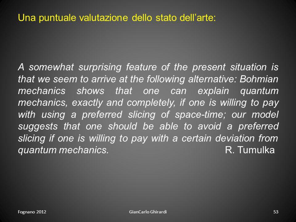 Fognano 2012GianCarlo Ghirardi53 Una puntuale valutazione dello stato dellarte: A somewhat surprising feature of the present situation is that we seem