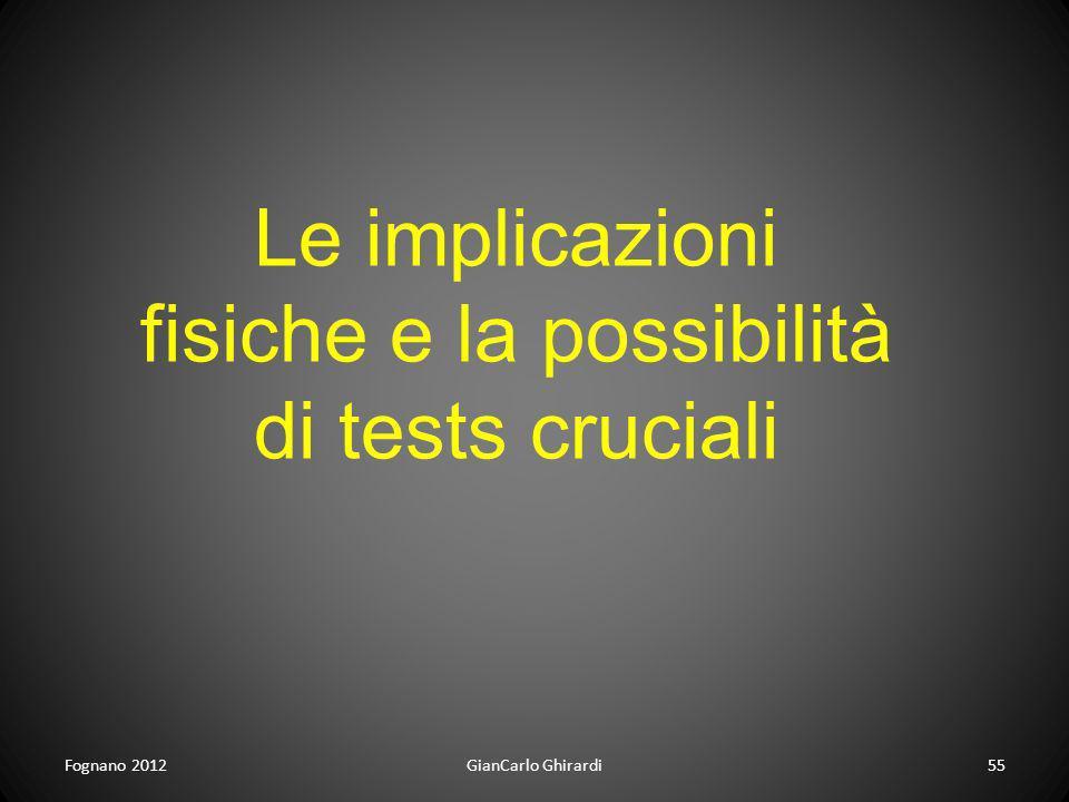 Fognano 2012GianCarlo Ghirardi55 Le implicazioni fisiche e la possibilità di tests cruciali