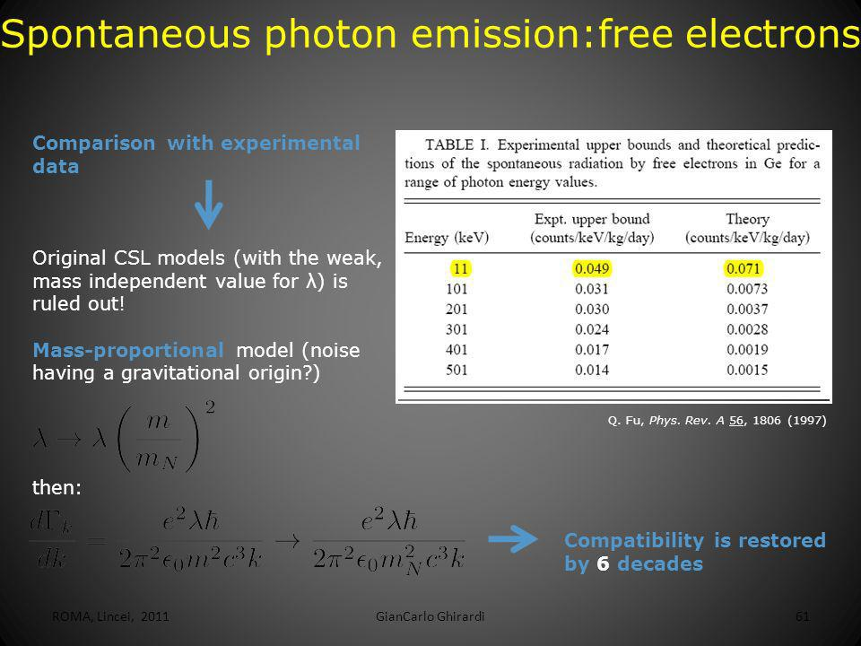 ROMA, Lincei, 2011GianCarlo Ghirardi62 Spontaneous photon emission: bound electrons Distance (orders of magnitude) from the standard CSL value Distance (orders of magnitude) from the enhanced value Spontaneous X-ray emission from Ge 6-2 Current upper bound on the mass proportional CSL model, coming from spontaneous X-ray emission Strongest known upper bound.