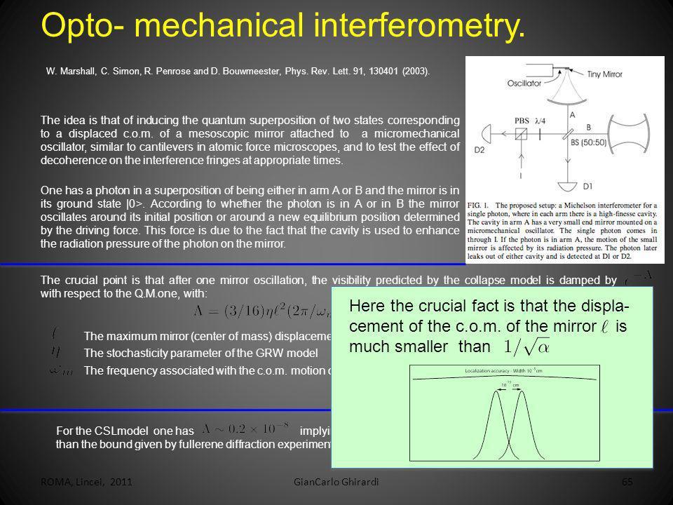 ROMA, Lincei, 2011GianCarlo Ghirardi65 Opto- mechanical interferometry. W. Marshall, C. Simon, R. Penrose and D. Bouwmeester, Phys. Rev. Lett. 91, 130