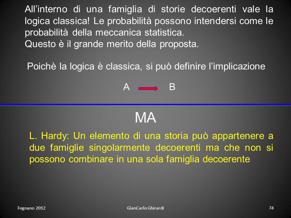 Fognano 2012GianCarlo Ghirardi74 Allinterno di una famiglia di storie decoerenti vale la logica classica! Le probabilità possono intendersi come le pr