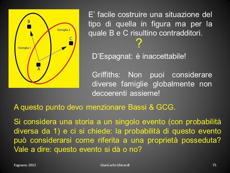 Fognano 2012GianCarlo Ghirardi75 E facile costruire una situazione del tipo di quella in figura ma per la quale B e C risultino contradditori. ? DEspa