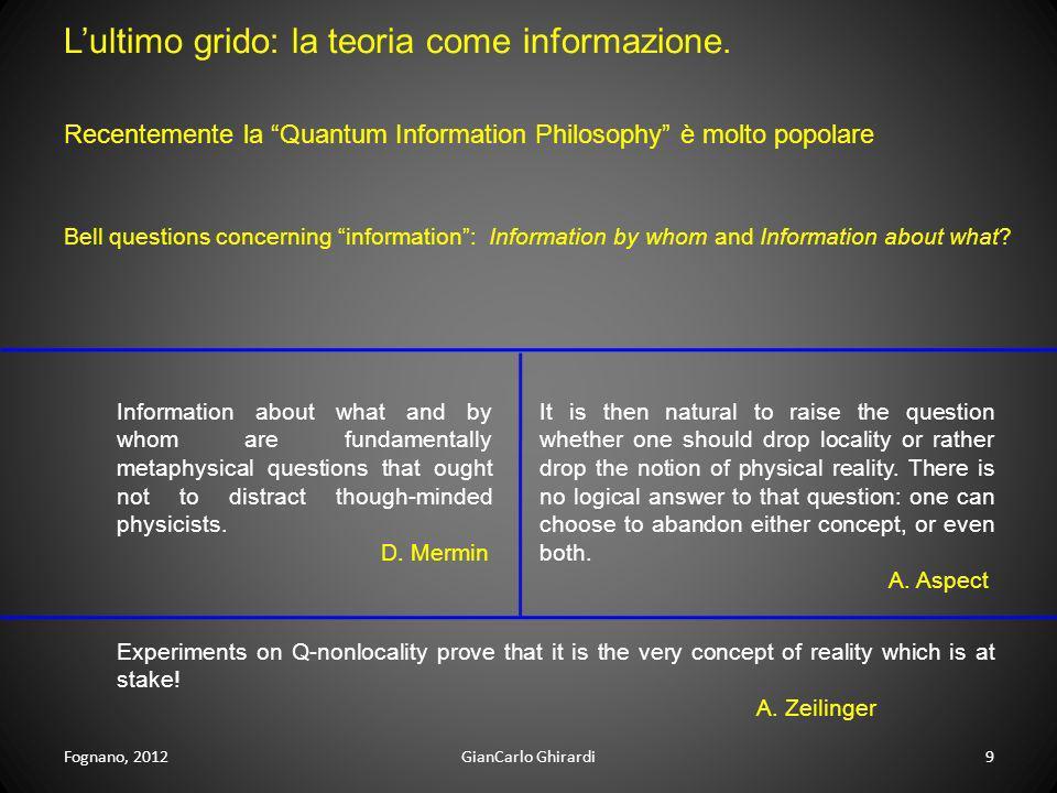 Fognano, 2012GianCarlo Ghirardi9 Lultimo grido: la teoria come informazione. Bell questions concerning information: Information by whom and Informatio