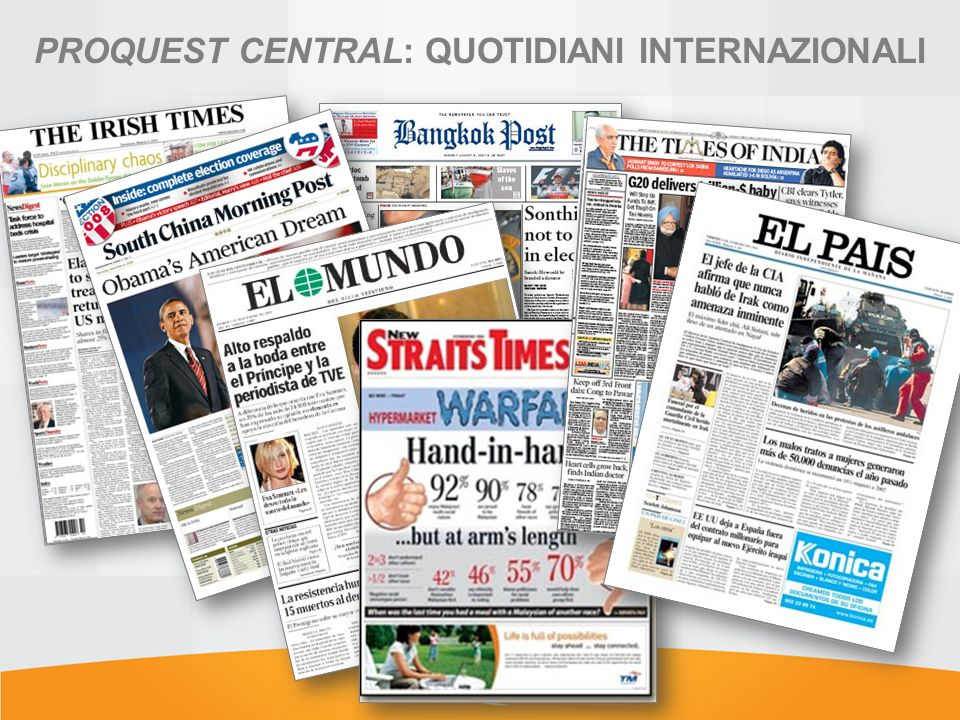PROQUEST CENTRAL: QUOTIDIANI INTERNAZIONALI