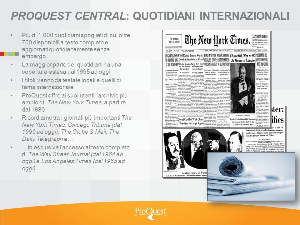 Più di 1,000 quotidiani spogliati di cui oltre 700 disponibili a testo completo e aggiornati quotidianamente senza embargo.