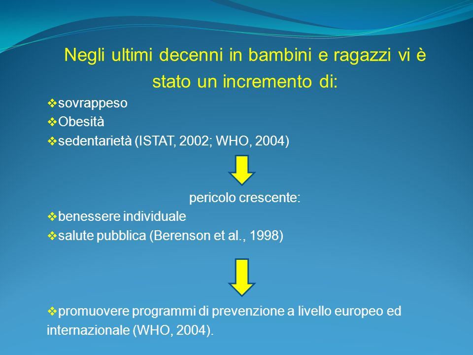 Negli ultimi decenni in bambini e ragazzi vi è stato un incremento di: sovrappeso Obesità sedentarietà (ISTAT, 2002; WHO, 2004) pericolo crescente: be