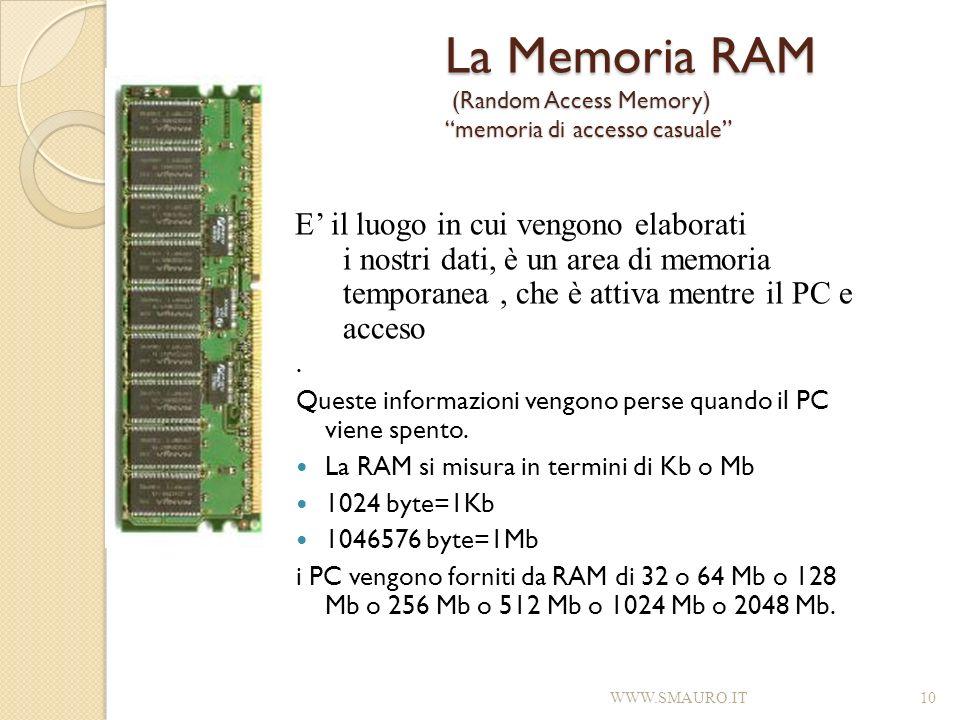 La Memoria RAM (Random Access Memory) memoria di accesso casuale. Queste informazioni vengono perse quando il PC viene spento. La RAM si misura in ter