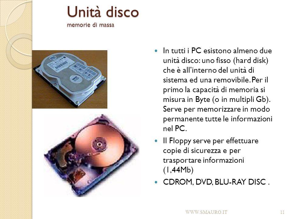 Unità disco memorie di massa In tutti i PC esistono almeno due unità disco: uno fisso (hard disk) che è allinterno del unità di sistema ed una removib