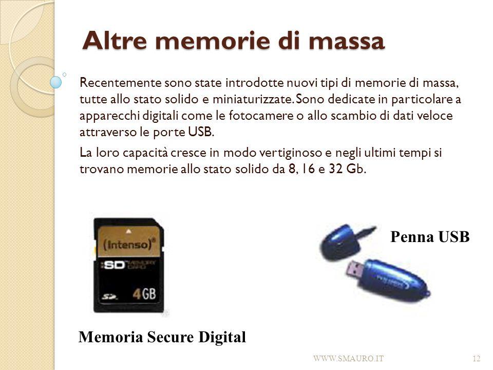 Altre memorie di massa Recentemente sono state introdotte nuovi tipi di memorie di massa, tutte allo stato solido e miniaturizzate. Sono dedicate in p