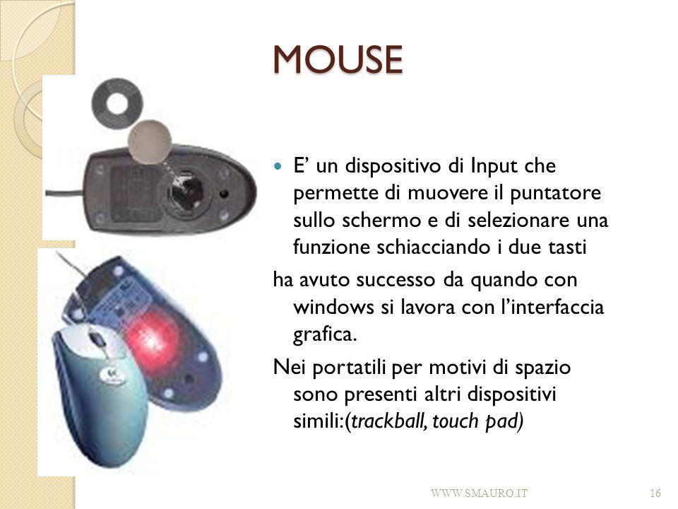 MOUSE E un dispositivo di Input che permette di muovere il puntatore sullo schermo e di selezionare una funzione schiacciando i due tasti ha avuto suc